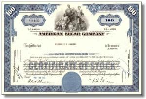 osakekirja, american sugar company