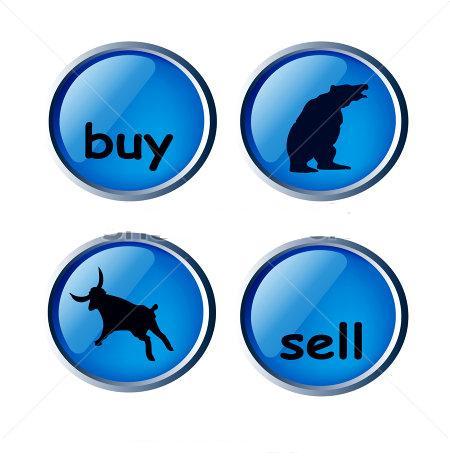 Karhu ja härkä markkinat, nousua ja laskua. Painikkeet.
